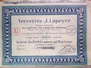 Action ancienne verrerie Lapeyre