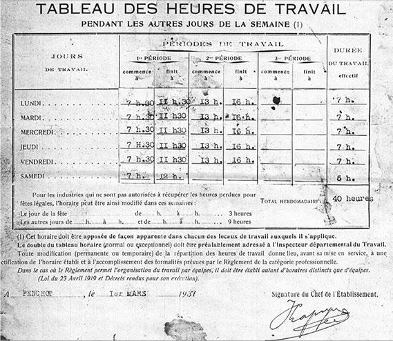 Verrerie de Penchot 1940 personnel ouvrier les Horaires