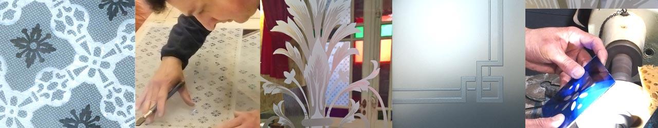 Atelier verrier du verre sablé