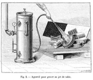 Pochoir de sablage et gravure sur verre en 1895