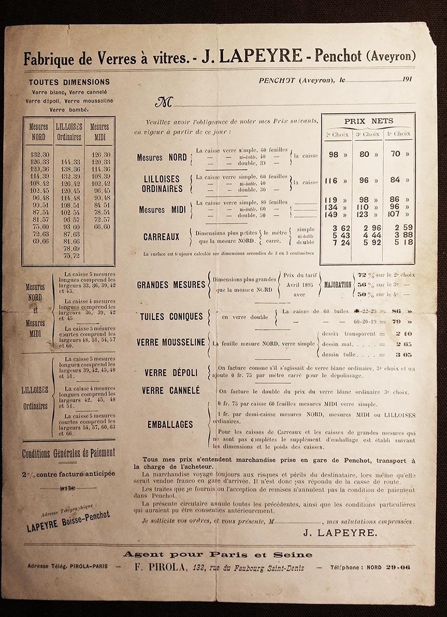 Le Tarif original J Lapeyre 1898