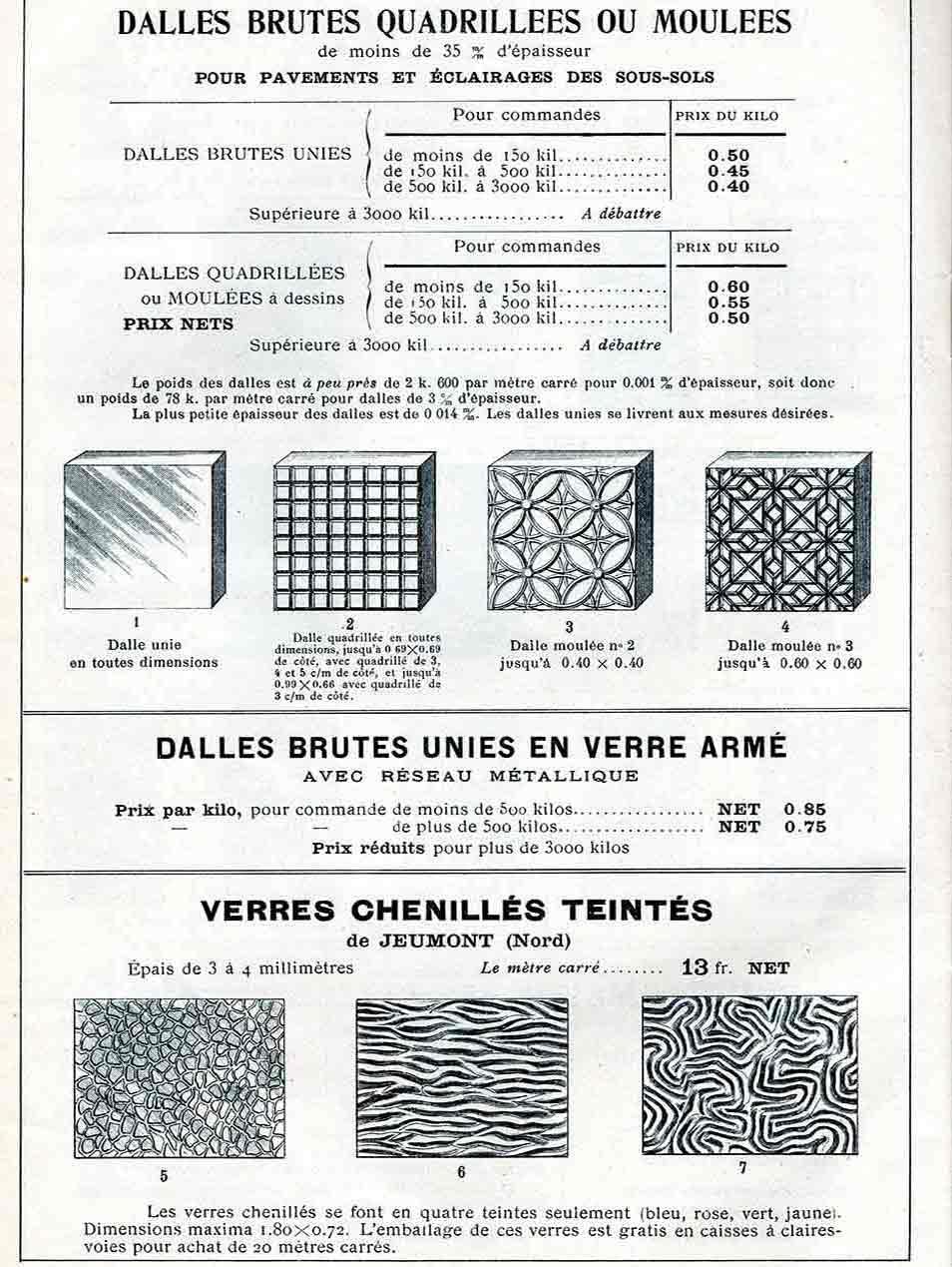 tarif verre en dalle brute 1908