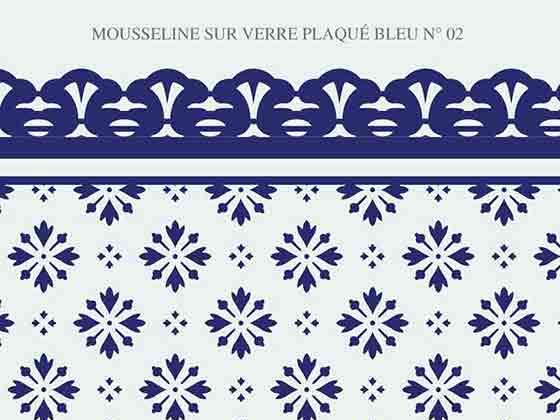 Mousseline verre couleur bleu  N-02