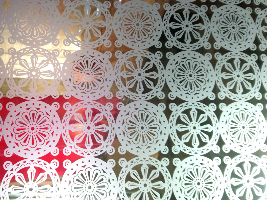 Ancien motif de vitre depolie N-58