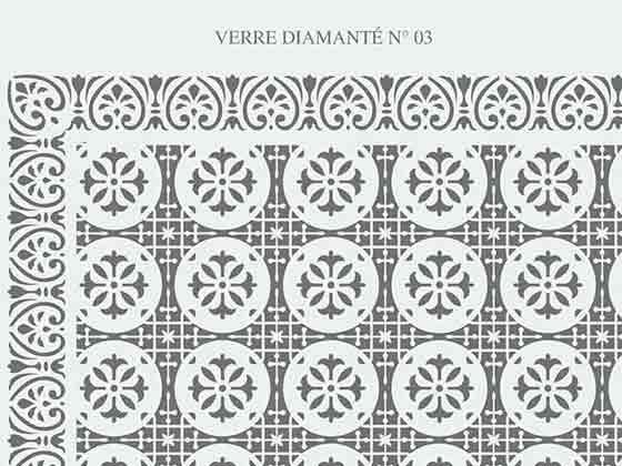 Vitre gravée diamanté claire N-03