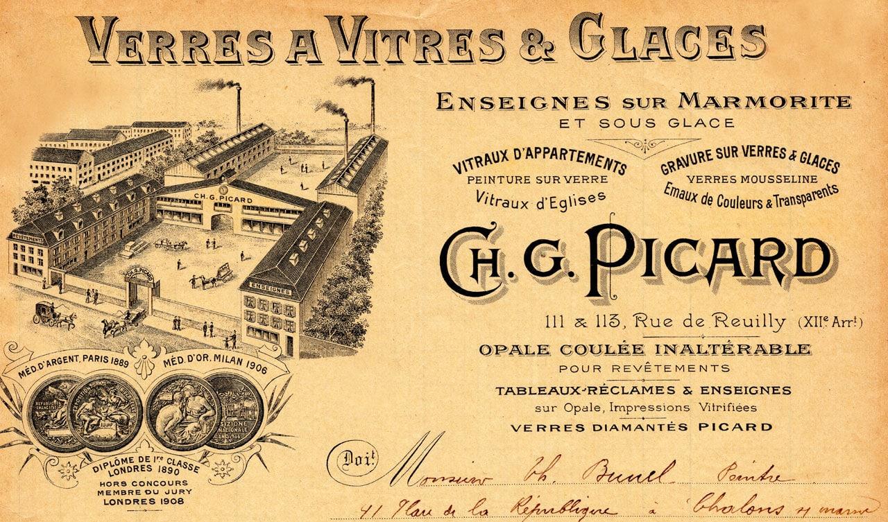 Verre a vitres et glaces Picard 1913
