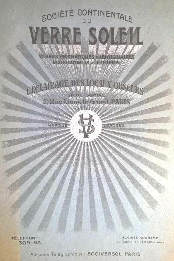 Plaquette Publicitaire verre soleil 1912