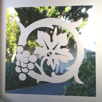 Angle en verre feuille vigne