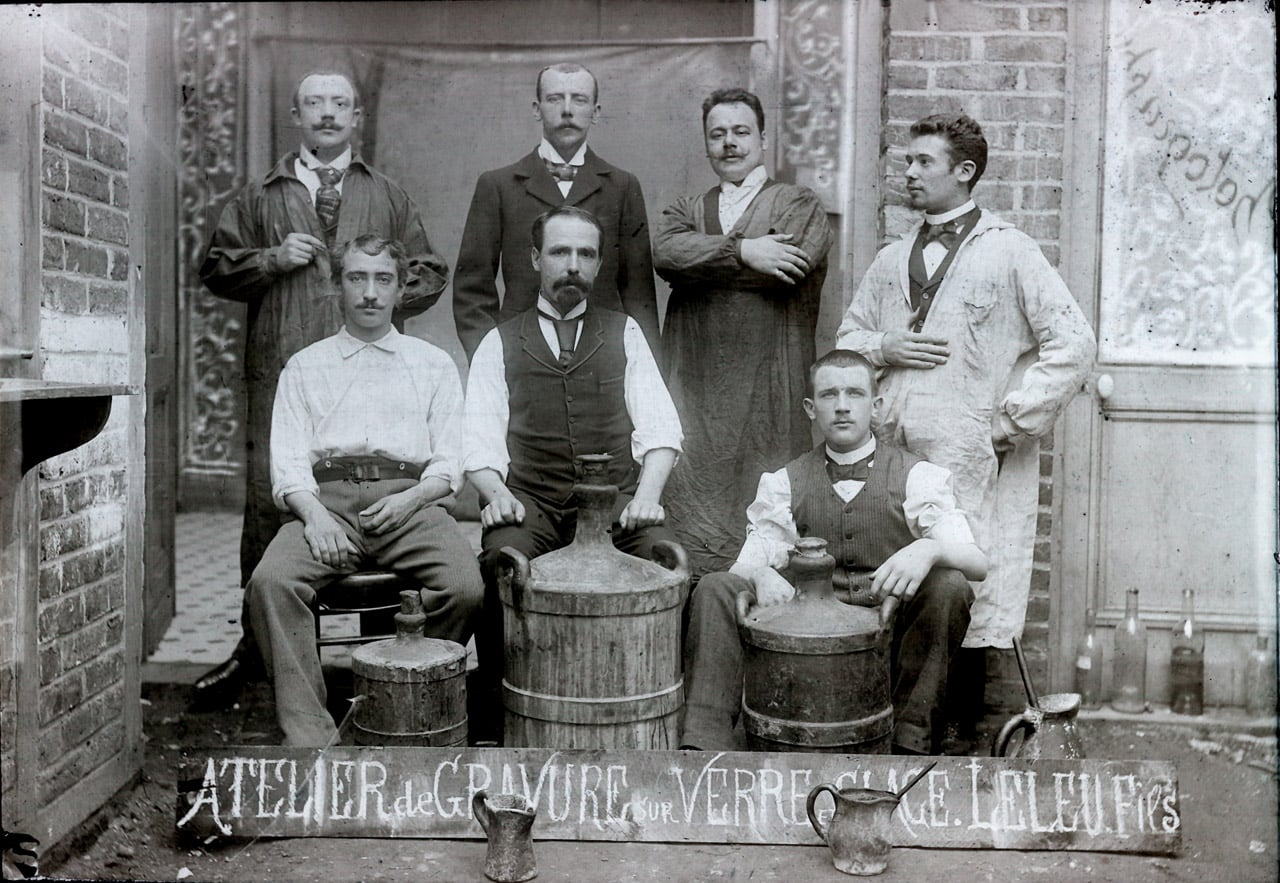 LELEU et Fils atelier de gravure sur verre et glace 1895