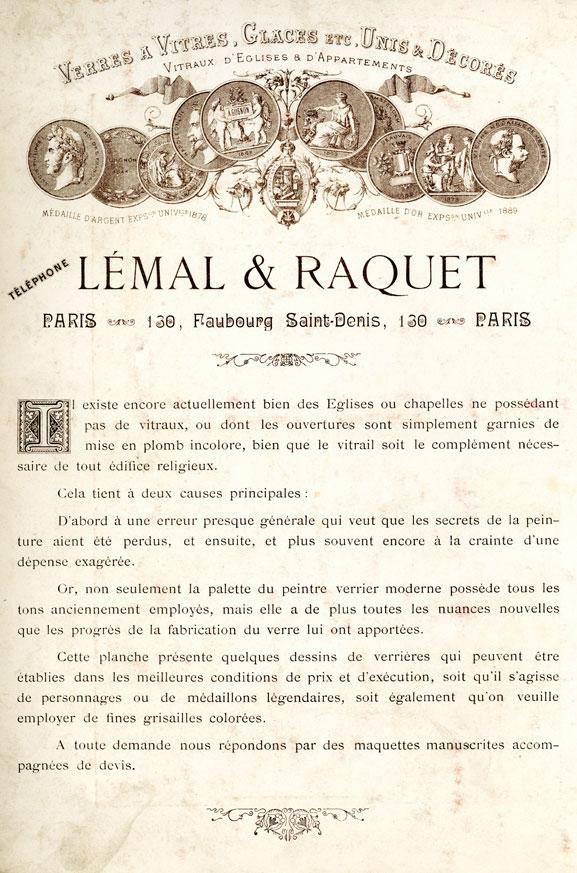 Lettre de Lémal et Raquet 1900