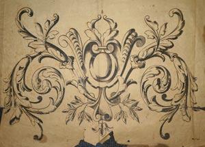 Modele original de gravure sur verre ancienne