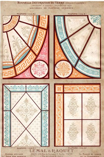 Modèle de vitraux en plafond