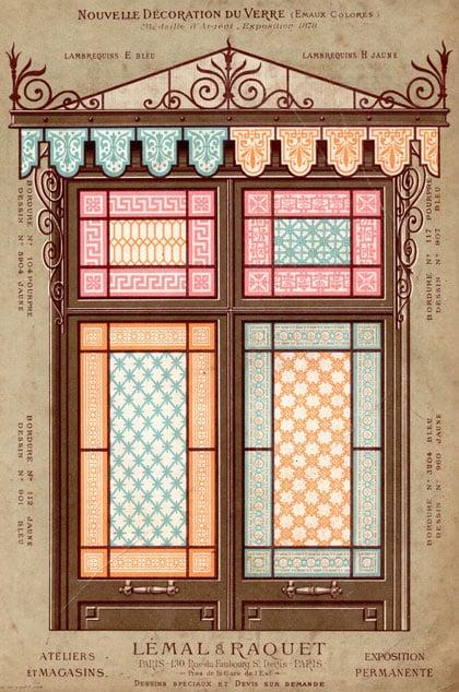ancien modèle de vitraux 1900