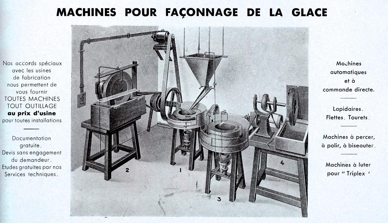 Ancienne machine de faconnage du verre pour miroitiers