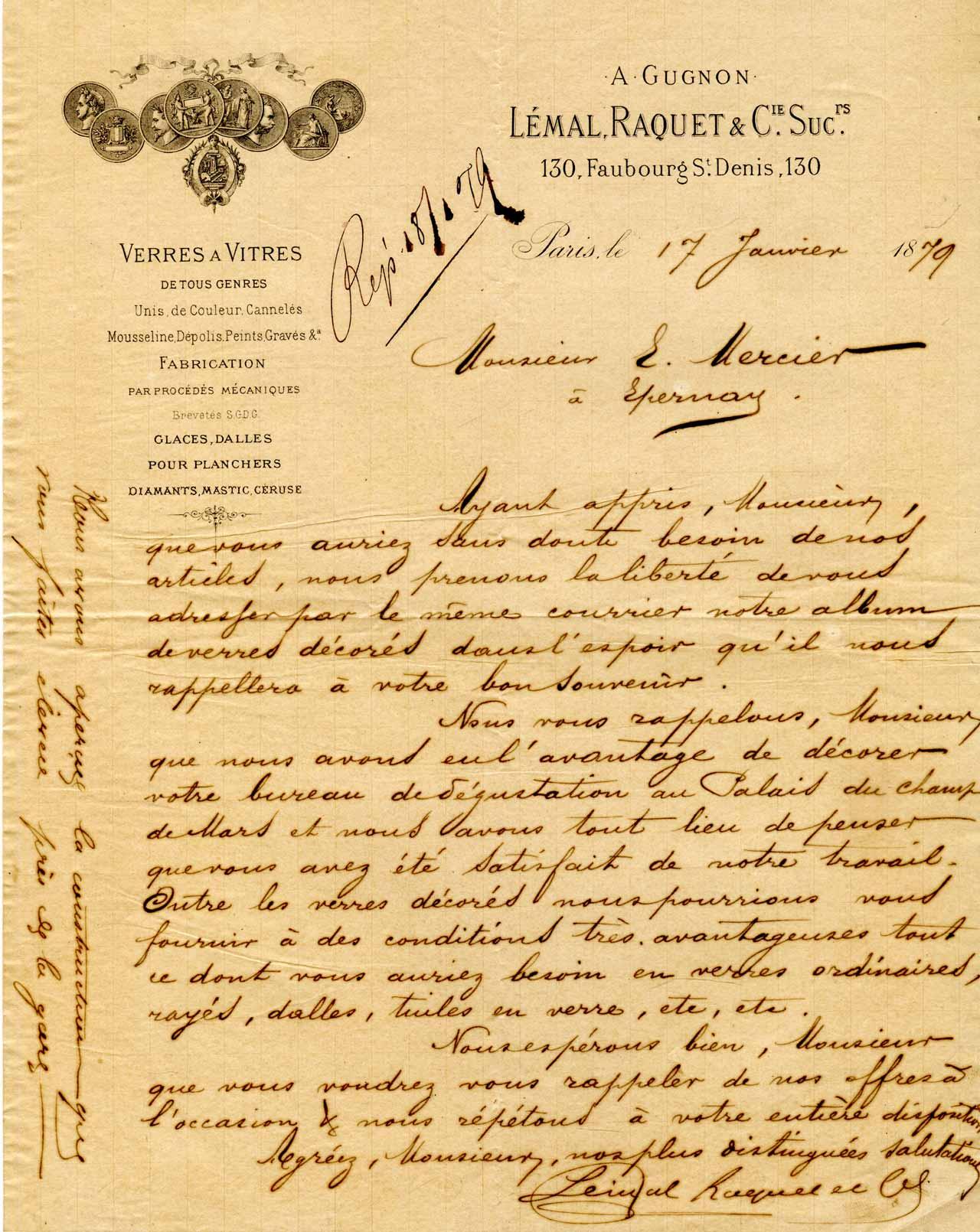 lettre commerciale Lemal et raquet 1879