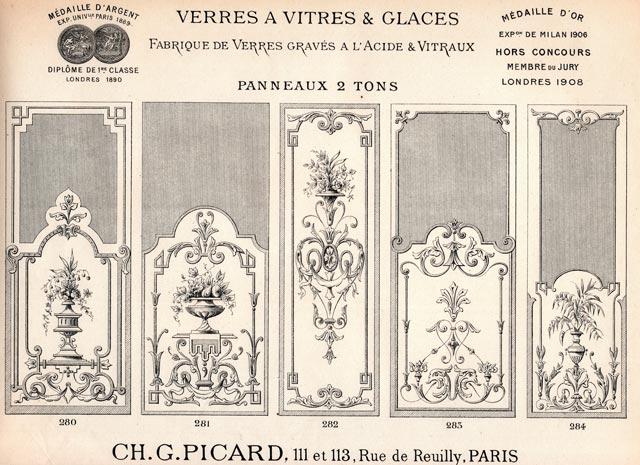Panneau de verre gravure acide