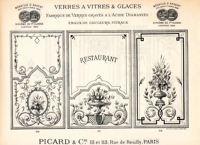 Vitrine de restaurant gravure à l'acide