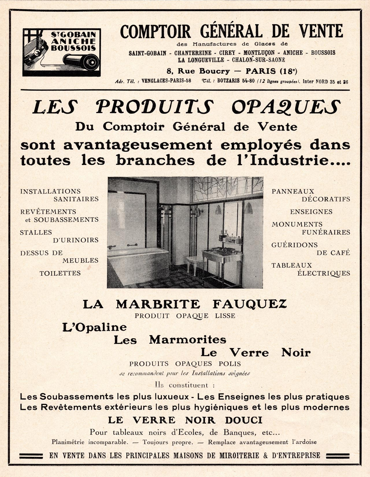 Les verres opaques Saint-Gobain 1930