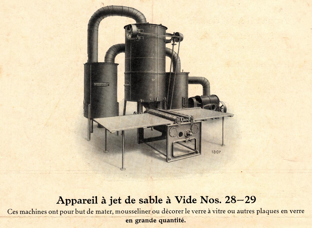 mousselinage du verre jet de sable 1910