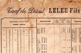 Tarif de la miroiterie Leleu a Lilles en 1895