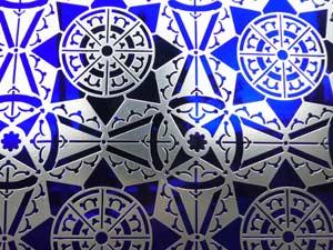 gravure sur verre a vitre bleu oriental