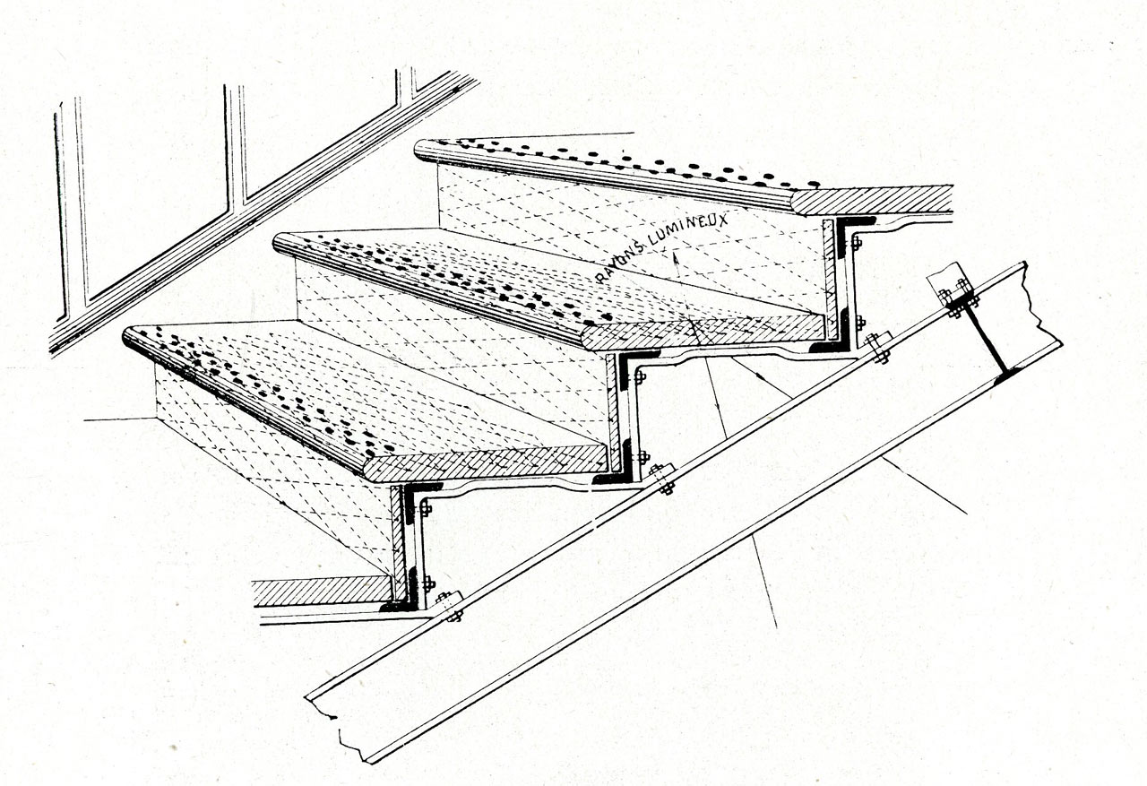 plan d'escalier en verre 1910