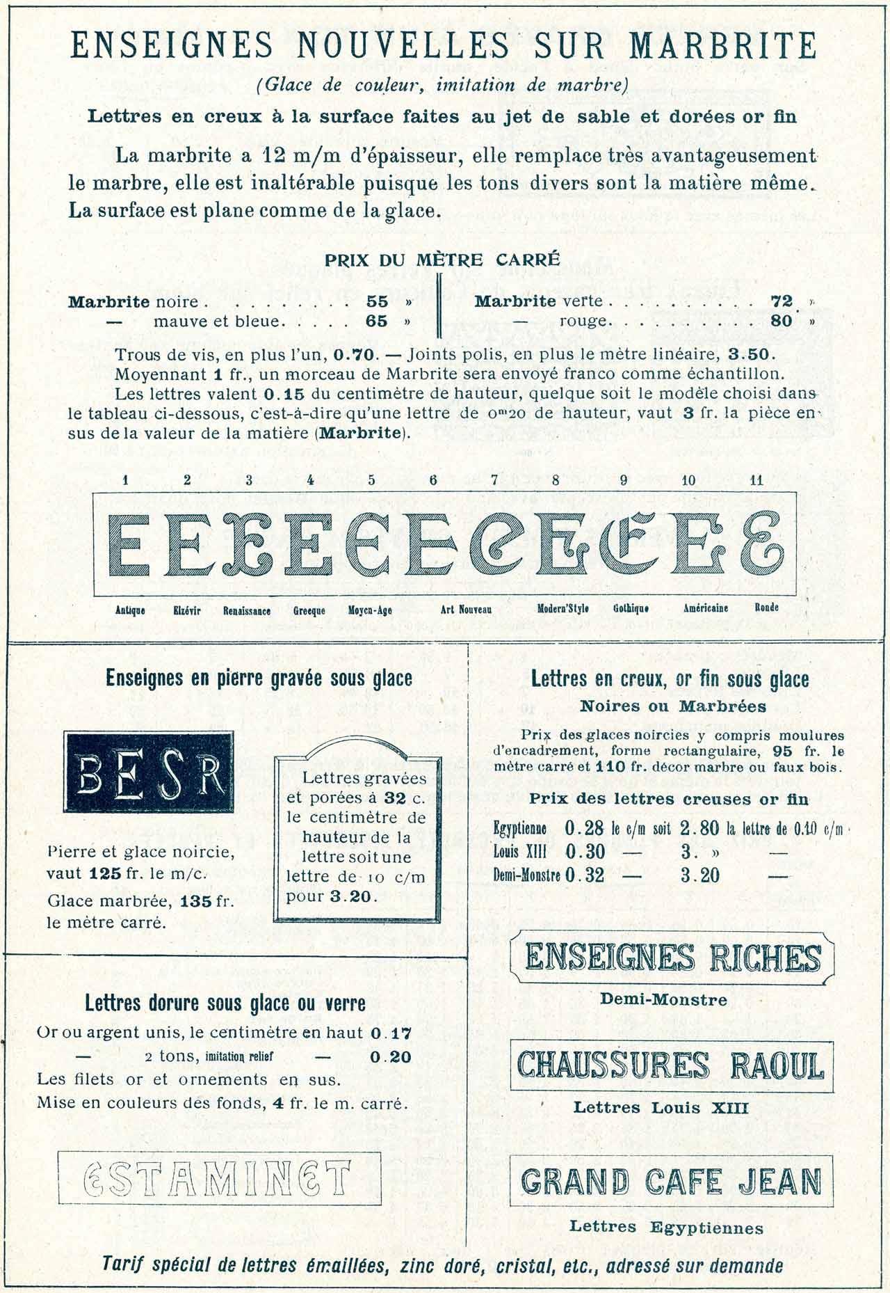 enseigne miroiterie codoni 1908