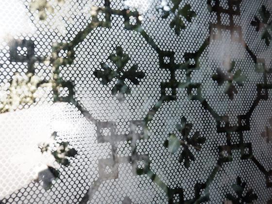 ancien vitrage a decor de rideau
